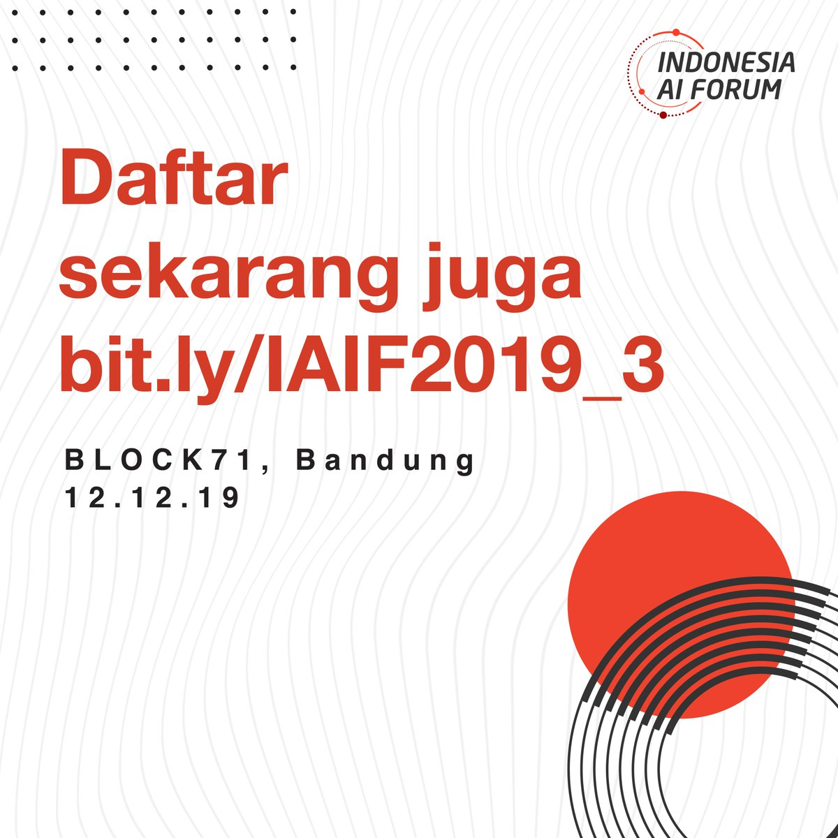 Indonesia AI Forum 2019 #3 sudah tinggal menghitung hari, kamu sudah punya tiketnya? Kamu bisa dapat banyak manfaat dan keuntungan, seperti:.Diskusi panel spesial,Networking session,Goodie bag,e-Certificate,Snacks.Dapatkan tiketnya di http://bit.ly/IAIF2019_3..#IAIF2019