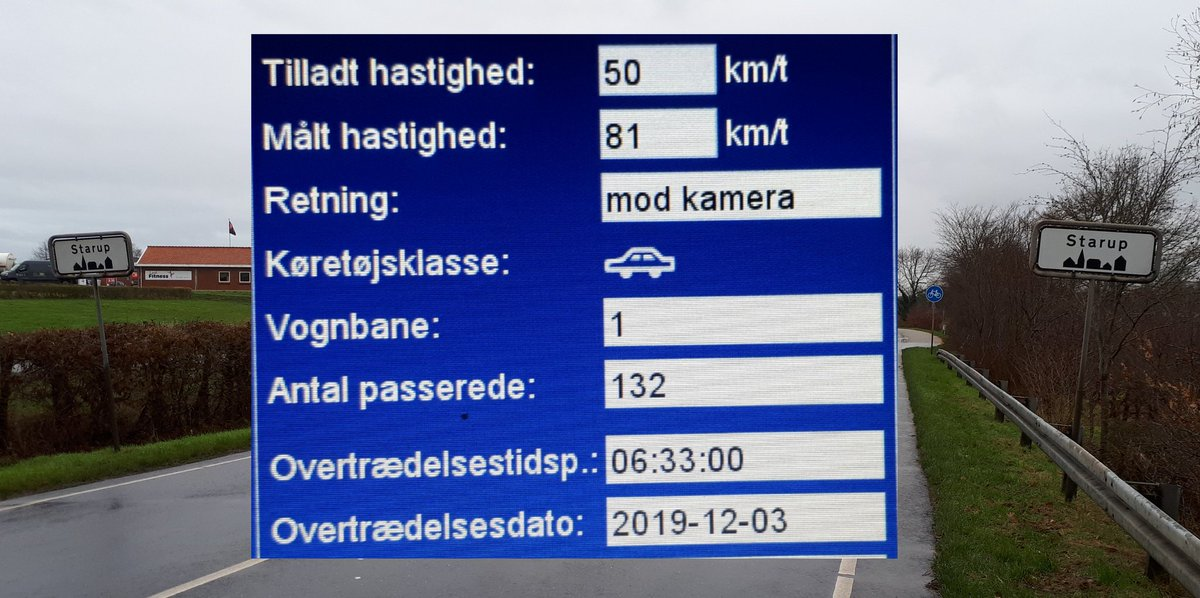 Utrygge borgere i Starup ved Haderslev, havde via bestil en betjent, ønsket at vi kom med fotovognen. 18 blev blitzet, hvor de 3 hurtigste kørte henholdsvis 67, 75 og 81 km/t. Hvor man må kører 50 km/t. Sænk farten og gør borgerne i Starup glade. #atkdk #politidk https://t.co/tUsn0Hhqny