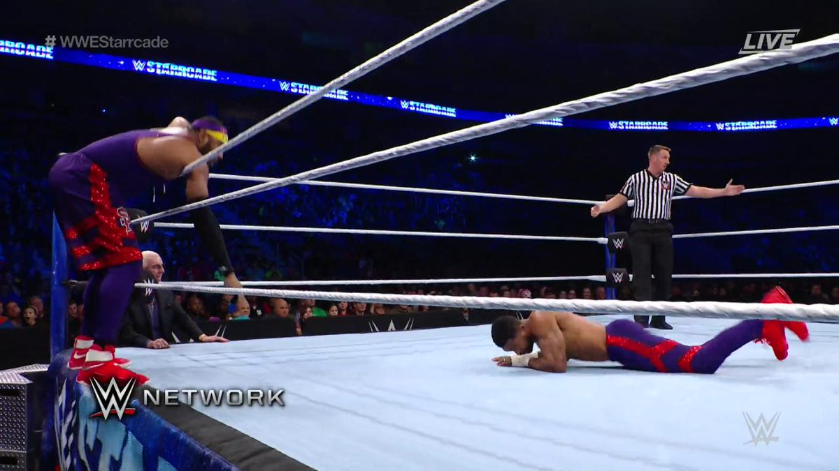 .@AngeloDawkins LIT UP #TheOC at #WWEStarrcade!