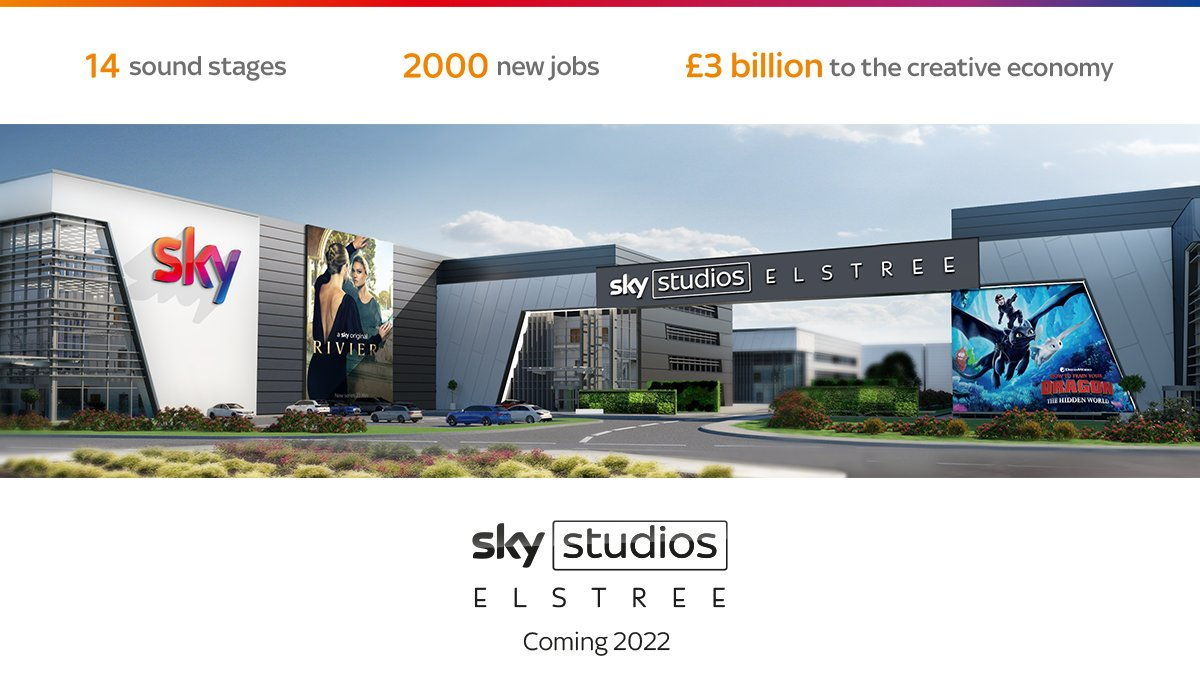 📣BREAKING NEWS📣: Sky to develop major new studio at Elstree, expected to open in 2022. The new space will: 👩‍💻Create 2000 new jobs 💰 Kickstart £3bn of investment in UKs creative economy 🎥Give us 14 sound studios over 32 acres Read more ➡️ sky.co/Elstree