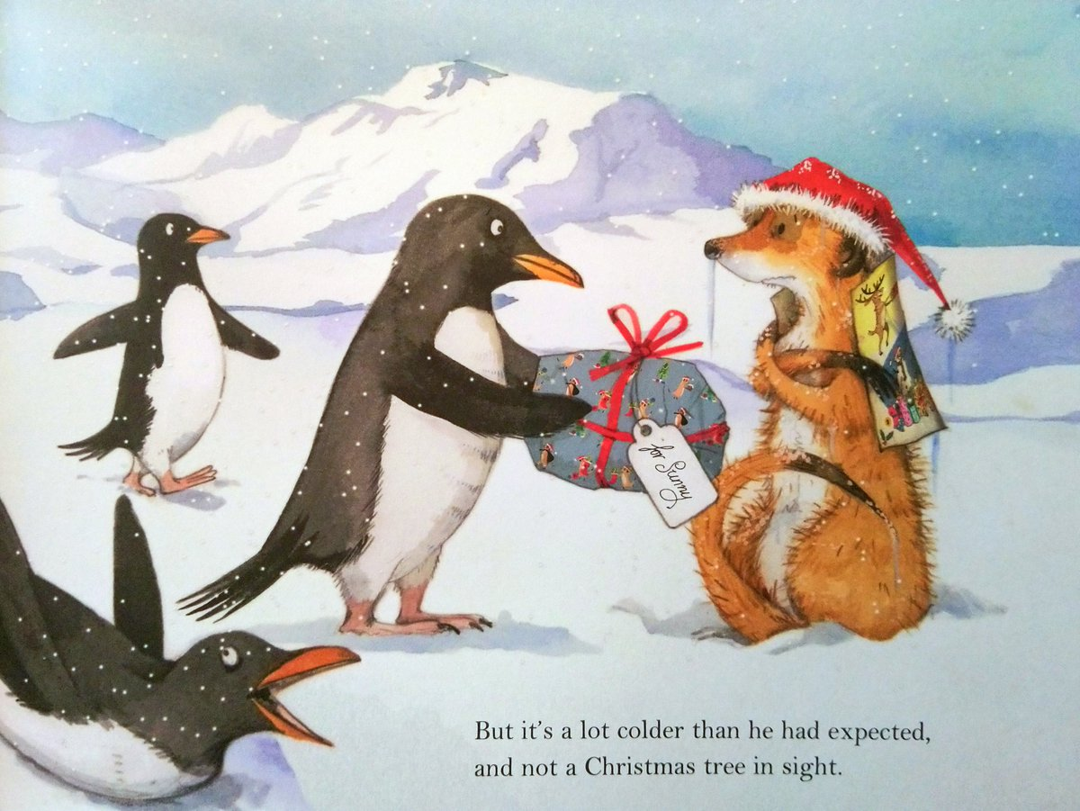 "#BookIllustrationOfTheDay is by Emily Gravett for ""Meerkat Christmas"" (2019). With an important embedded message about the ""perfect Christmas"", this is surely a new Christmas classic. Great flaps. Perfect to share with little ones in Dec. Adorable illustrations, here's 2 faves... <br>http://pic.twitter.com/9cs3tovIqZ"