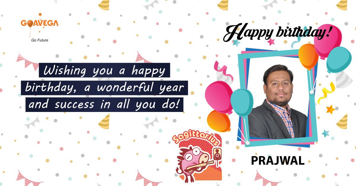 Warmest Birthday wishes to Dear Prajwal Wishing you a wonderful year and success in all you do. #Goavega #HappyBirthday #Birthday #birthdaywishes<br>http://pic.twitter.com/CMFjUNeGBQ