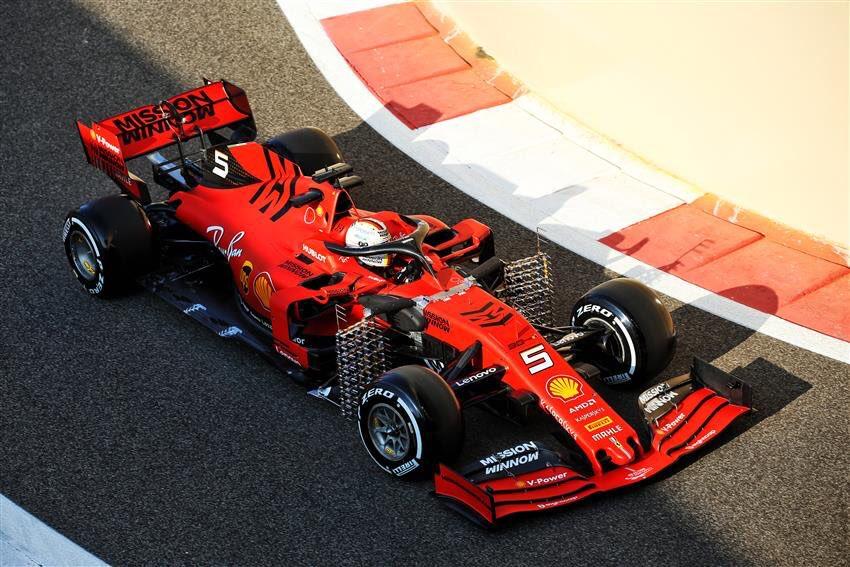 Sebastian Vettel in action in his Ferrari during today's test at @ymcofficial 🏎  #F1Testing 🇦🇪 #Seb5 #F1