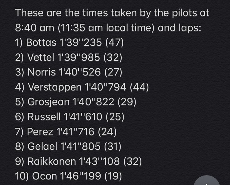 These are the times taken by the pilots at 8:40 am (11:35 am local time) and laps: Mercedes and Ferrari should have used the toughest tires in the lot (C1 and C2) but at the moment it is difficult to say exactly. #F1 #F1testing