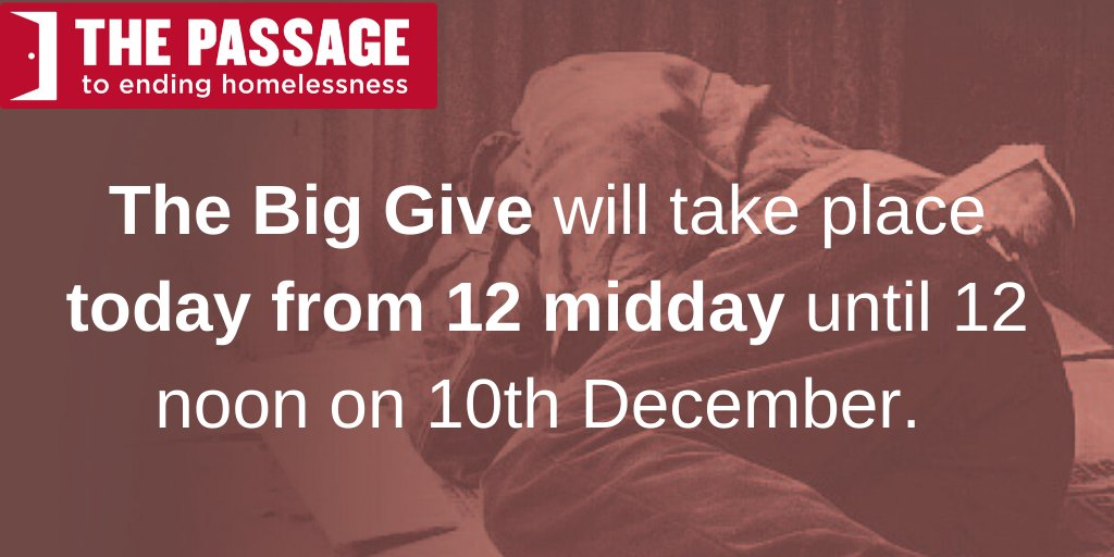 The @BigGive starts today at midday. This means any donation you make from midday until 10 December will be doubled at no extra cost to yourself. Just donate via this link donate.thebiggive.org.uk/campaign/a051r…. Spread the word and help us to support #homeless people as the temperature drops.