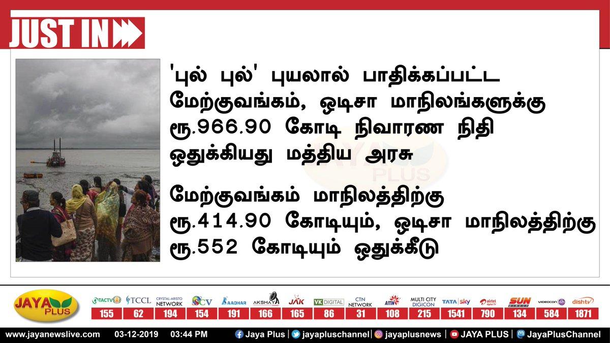 'புல் புல்' புயலால் பாதிக்கப்பட்ட மேற்குவங்கம், ஒடிசா மாநிலங்களுக்கு ரூ.966.90 கோடி நிவாரண நிதி ஒதுக்கியது மத்திய அரசு.   மேற்குவங்கம் மாநிலத்திற்கு ரூ.414.90 கோடியும், ஒடிசா மாநிலத்திற்கு ரூ.552 கோடியும் ஒதுக்கீடு. #centralgovernment #bulbulcyclone pic.twitter.com/BrrzHUjd5p