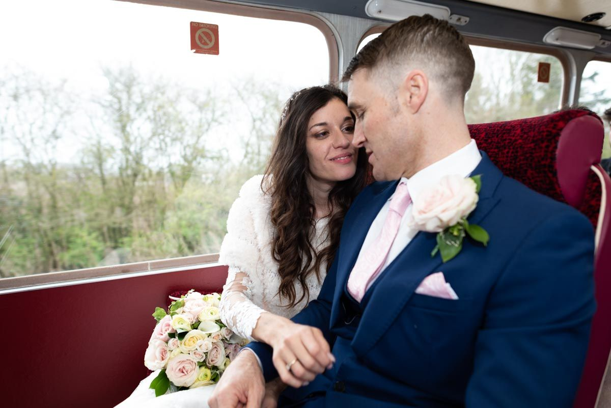Virginia and Simon chose a vintage bus to transport guests from #LewesRegisterOffice to #HorstedPlaceHotel, a fantastic #WeddingVenue in rural #Sussex. #weddingphotographer #weddingphotographers #weddingphotographeruk #lewesweddingphotographer #weddingphotography #weddingphotos