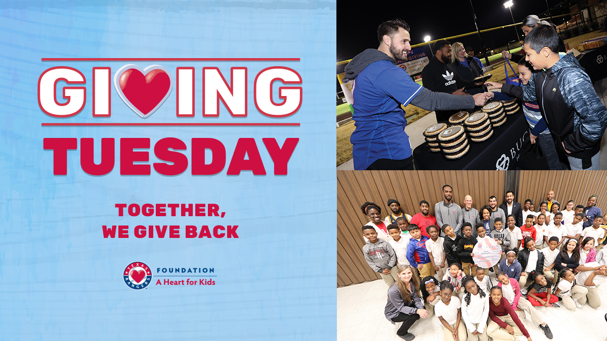Whether its $25 or $1,000, your donation can make a big difference in local kids lives! Give back ➡️ texasrangers.com/donate #GivingTuesday | #TogetherWe