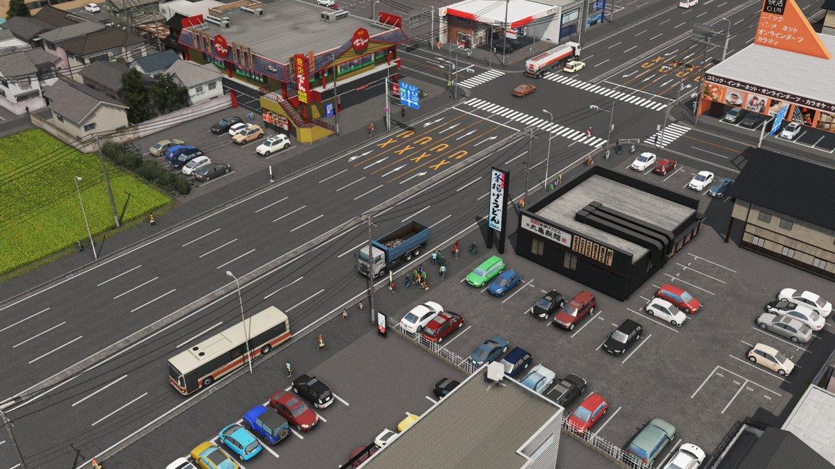 #CitiesSkylines RELEASED: Japanese Plain Parking Lots / 日本風の普通の駐車場 フェンスや看板のない普通の駐車場をリリースしました。サイズは4つで繋ぎ合わせて使えます。enjoy!