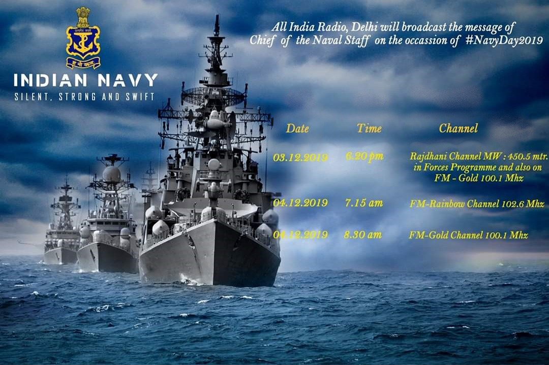 Spokespersonnavy On Twitter On The Occasion Of Navyday 2019 Message From Chief Of The Naval Staff Indiannavy Will Be Broadcast On All India Radio Delhi Spokespersonmod Https T Co Zcc10iudh3