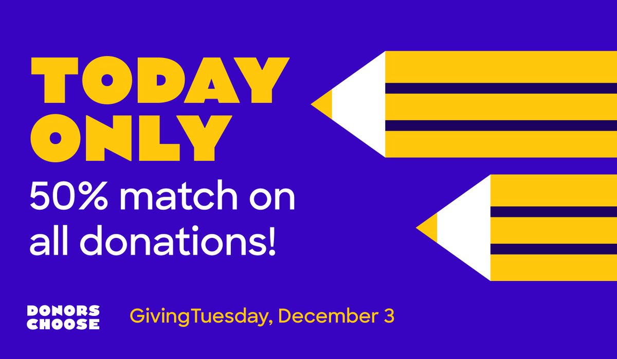 It's today! Our 50% match for GivingTuesday is live. Your donation will go even further to help teachers and students.  https://bit.ly/2DFx6Q4   #GivingTuesday  #SupportTeachers