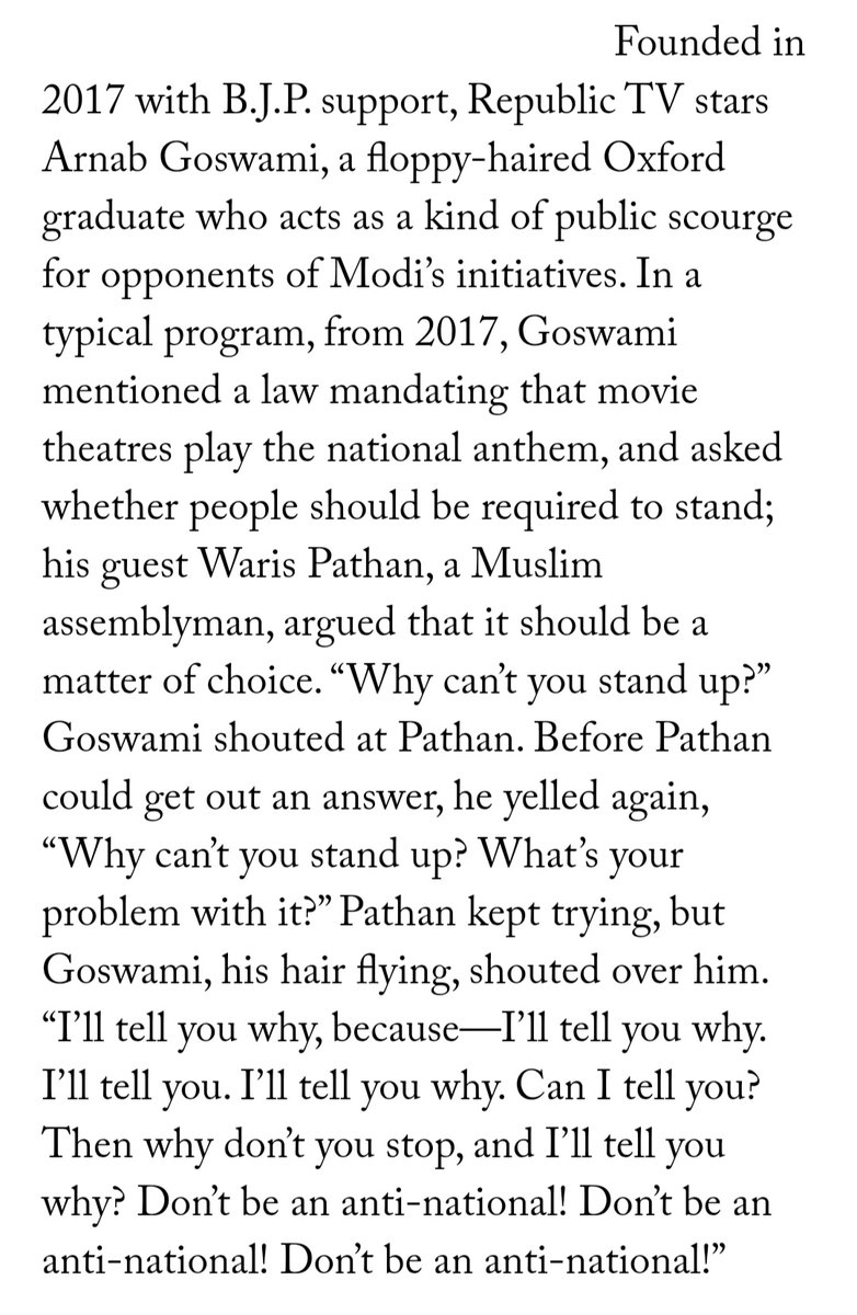 I am so impressed by how the new yorker writer actually tried to explain the madness that is arnab goswami, knowing very well that it's going to make little sense to anybody who is not indian