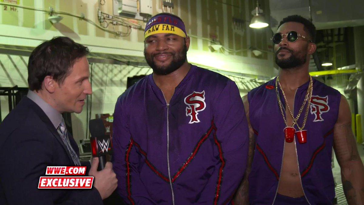 EXCLUSIVE: @AngeloDawkins & @MontezFordWWE were feeling THANKFUL for @RicFlairNatrBoy at #WWEStarrcade.