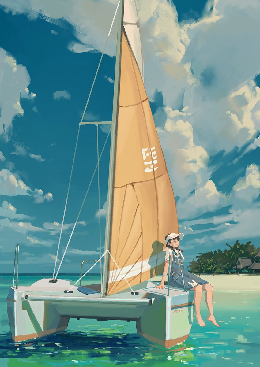 """🖌 """"Relax-2"""" by enze.fu(小半杯奶) @fuenzesunny#pixiv #original #girl #scenery #sea #art #painting #drawing"""