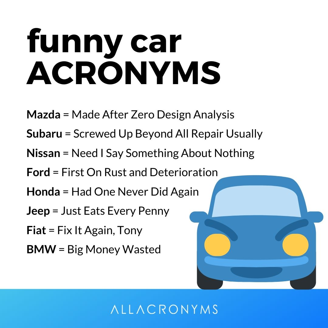 All Acronyms På Twitter These Acronyms Are Just For Fun However Sometimes They Seem To Be Warnings Find More Funny Car Acronyms On Allacronyms And Laugh More Https T Co Tpt8lmaarf Acronym Abbreviations Commonacronyms Car