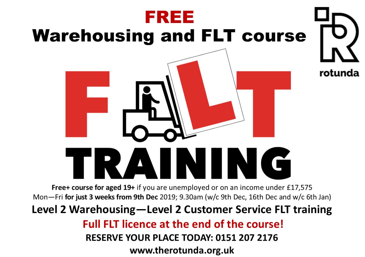 BRILLIANT OPPORTUNITY!! Do you/a friend want to gain a FREE Fork Lift Truck licence in just 3 weeks? Plus L2 Warehousing & L2 Customer Service? If youre aged 19 or over, unemployed or on an income under £17,575, you can! Call/book online now: therotunda.org.uk/course-schedul… 01512072176