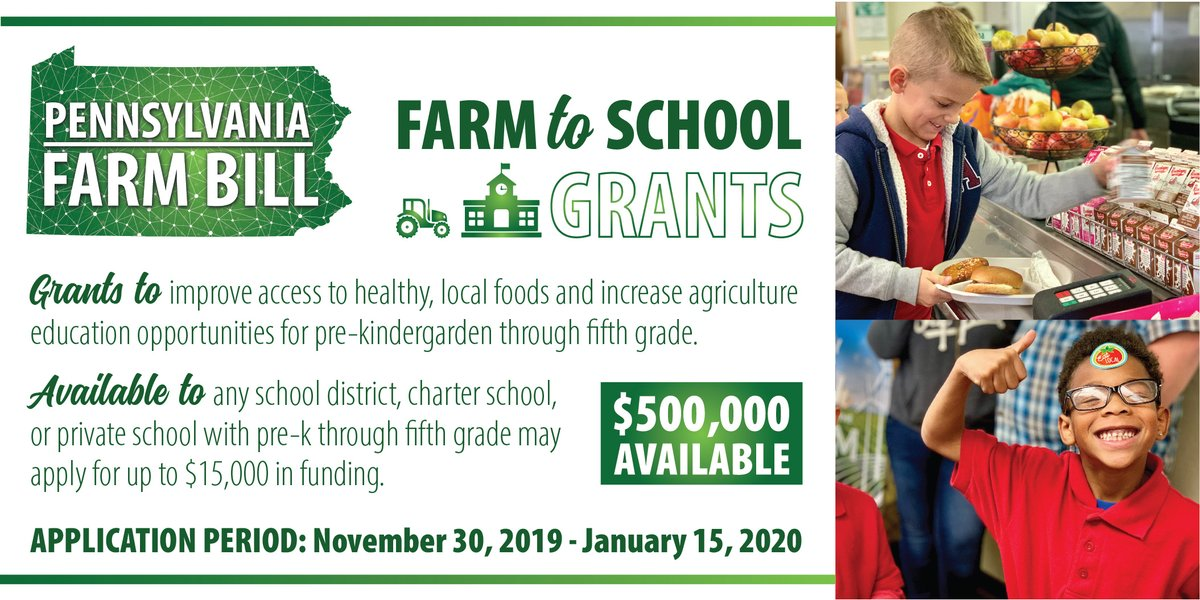 🍎 Now accepting applications to the #PAFarmBill Farm to School Grant Program!