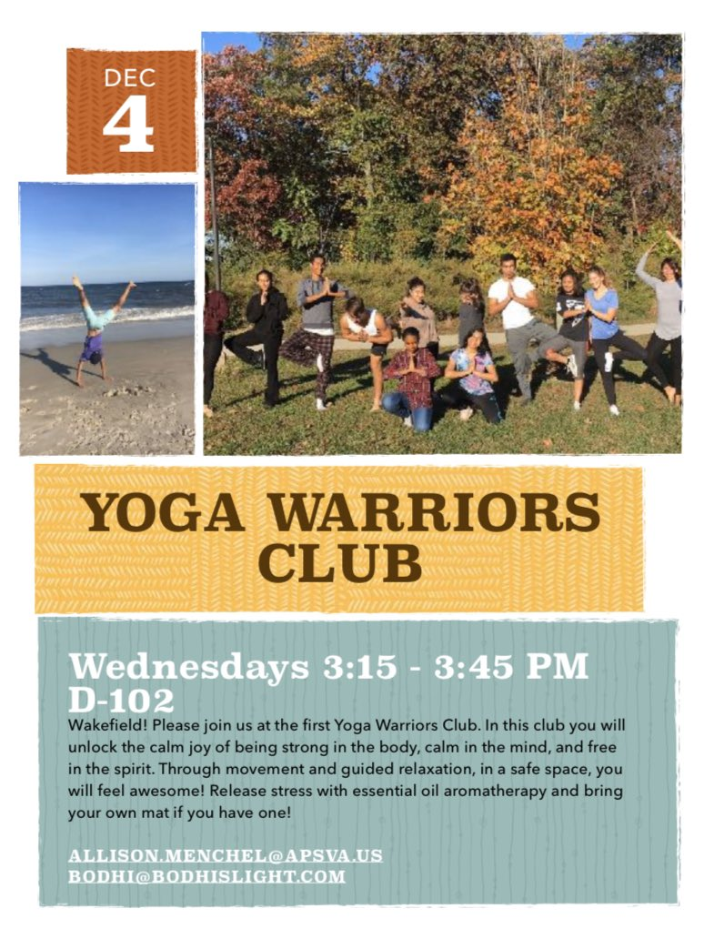 Yoga Warriors Club is back and meeting tomorrow (Wednesday) afternoon! Meet us in room D-102, next to the library, from 3:15-3:45pm. No experience necessary! <a target='_blank' href='http://twitter.com/WHSHappenings'>@WHSHappenings</a> <a target='_blank' href='http://twitter.com/wakefieldchief'>@wakefieldchief</a> <a target='_blank' href='http://twitter.com/WakeAthletics'>@WakeAthletics</a> <a target='_blank' href='https://t.co/pQJO3Yyo84'>https://t.co/pQJO3Yyo84</a>