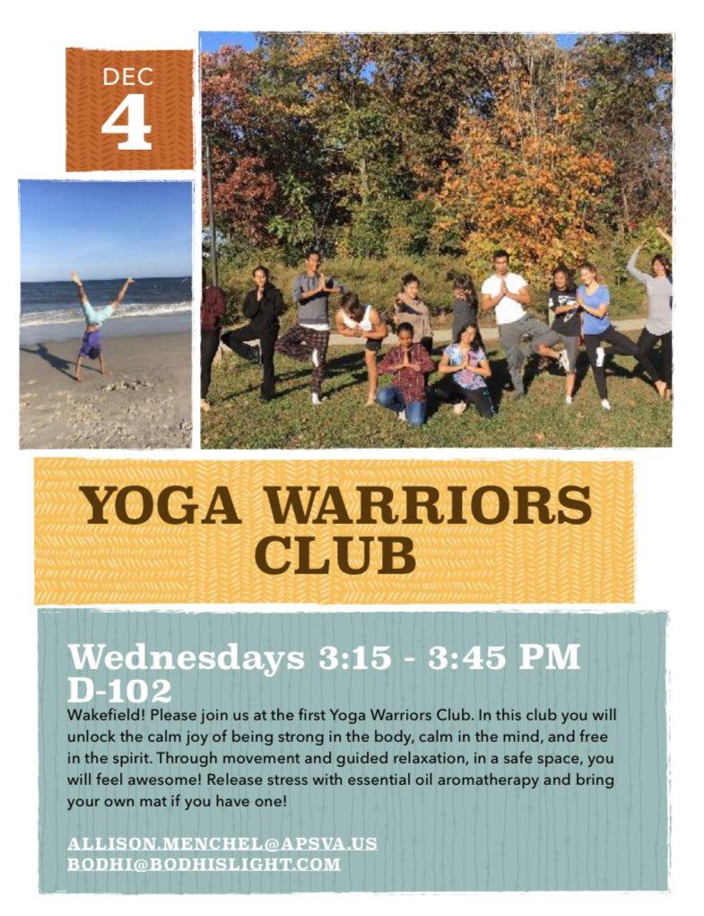 Yoga Warriors Club이 돌아와 내일 (수요일) 오후에 만납니다! 도서관 옆 D-102 호실에서 오후 3시 15 분부터 3시 45 분까지 만나십시오. 경험이 필요하지 않습니다! @WHSHappenings @wakefieldchief @WakeAthletics https://t.co/pQJO3Yyo84
