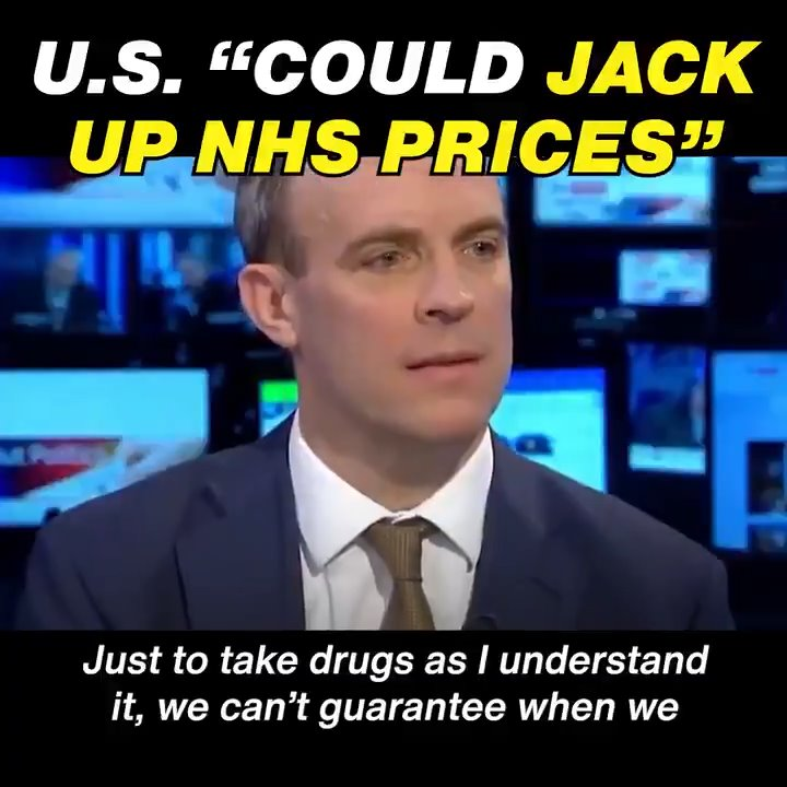 Dominic Raab admits Donald Trump will be free to increase the price of drugs bought by the NHS 😠 #Raab #NHSNotForSale #TrumpUKVisit