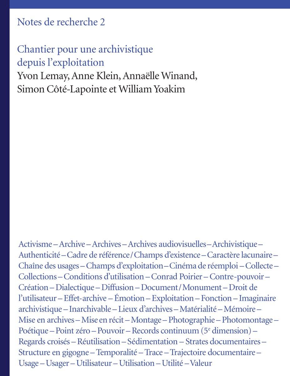"""test Twitter Media - Nouvelle parution! """"Chantier pour une archivistique depuis l'exploitation. Notes de recherche 2."""" par Y. Lemay, A. Klein, A. Winand, S. Côté-Lapointe et W. Yoakim. #archives  #archivistique #publication https://t.co/SDgWdtvhRj https://t.co/lSqcU8g50I"""
