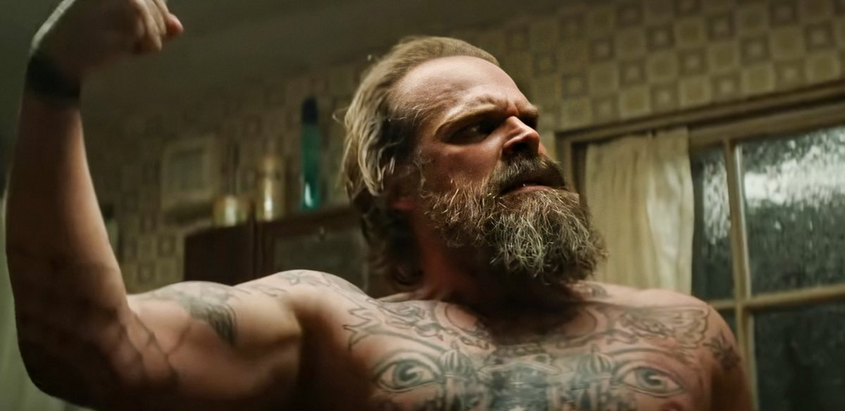 david harbour shirtless and covered in tattoos, that's it
