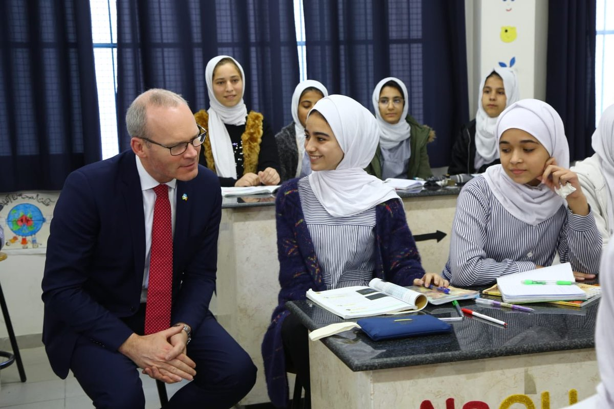 Today, Tánaiste @simoncoveney had an opportunity to hear about current challenges facing @UNRWA in Gaza & beyond and to experience at first hand the high quality of education provided to some 279,000 Gazans. Such eloquent pupils & school parliamentarians at Jabalia Prep. School!