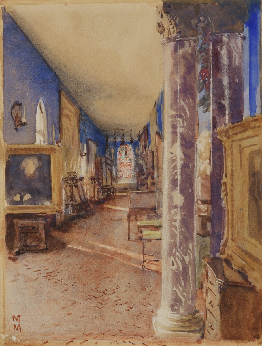 This #TransformationTuesday, get a then-and-now look at the Long Gallery thanks to this 1923 watercolor by Martin Mower. Do you recognize the painting on the left, now found in the Blue Room? <br>http://pic.twitter.com/ItMo4KwCwV