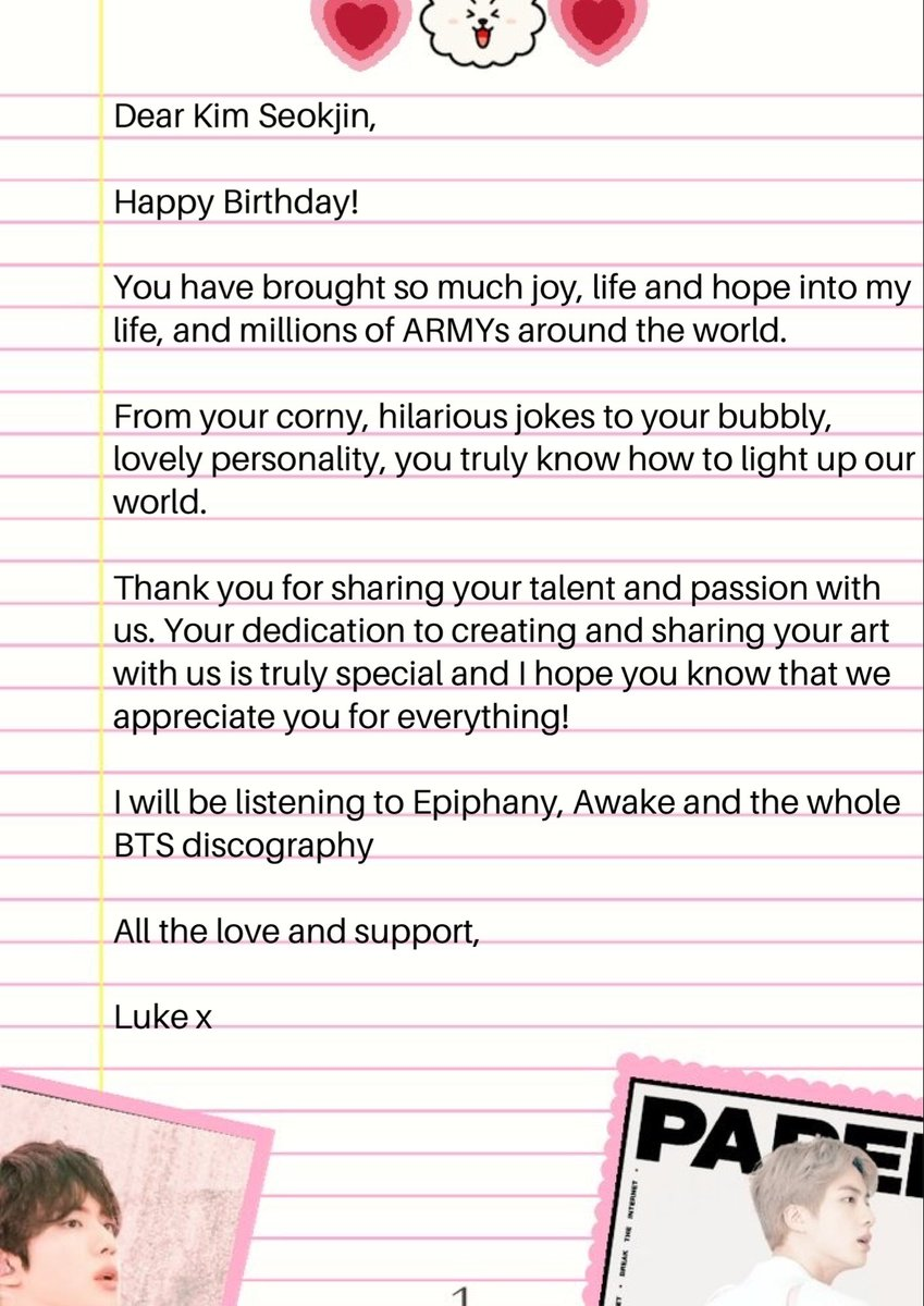 Dearest Seokjin, A birthday letter for you 🎁🎉💜🎈! Love and support @BTS_twt #LettersforJin #HappySeokjinnieDay #RockJinDay #TonightAndAlwaysWithJin #SilverVoiceJin #OurFlowerofDecember #JinOurDecemberStar #HAPPYJINDAY #WorldwideHandsomeJinDay #HeartsForJinDay 😊🥳
