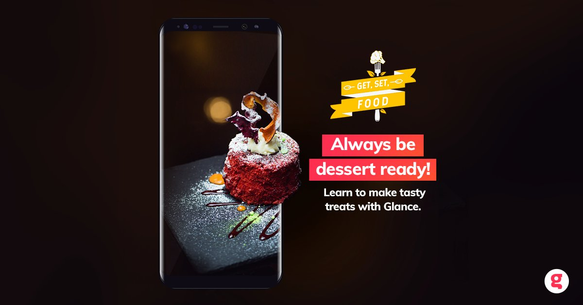Glance takes the cake when it comes to food-related content. Get your Glance-enabled phone today to check out recipes on Get, Set, Food. #UnlockZindagi #TuesdayThoughts
