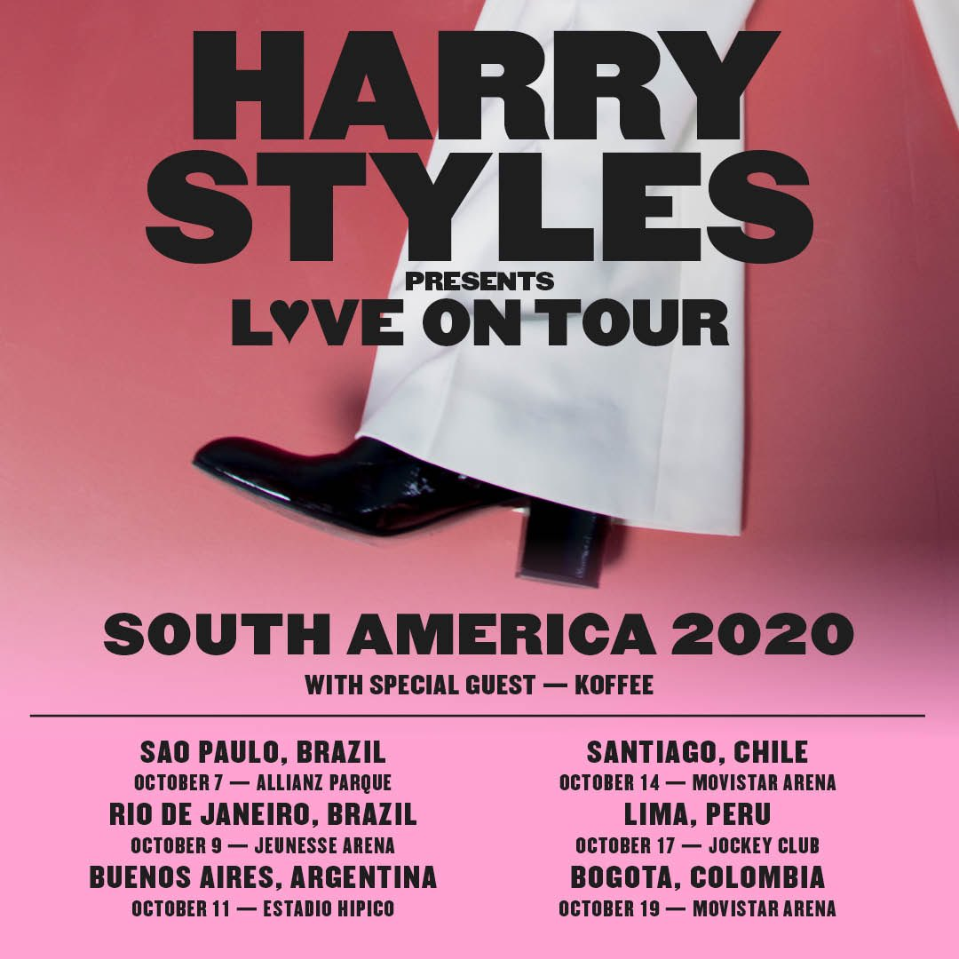 NEW LOVE ON TOUR 2020 SOUTH AMERICA DATES ANNOUNCED.  Public onsales begin Thursday, December 5.  hstyles.co.uk/tour