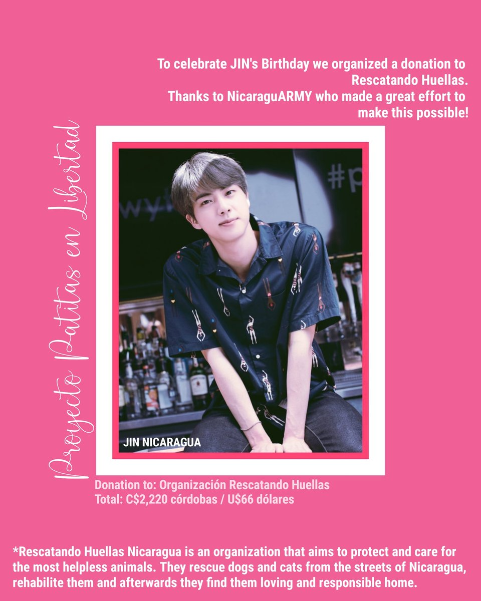 🐾 Project: Patitas en Libertad #JinGlobalDonationProject 🐾 We did a donation to Rescatando Huellas, they rescue dogs and cats from the street of our country. Thanks to NicaraguARMY who made this possible ♡ @BTS_twt #HappySeokjinnieDay #OurFlowerofDecember #진