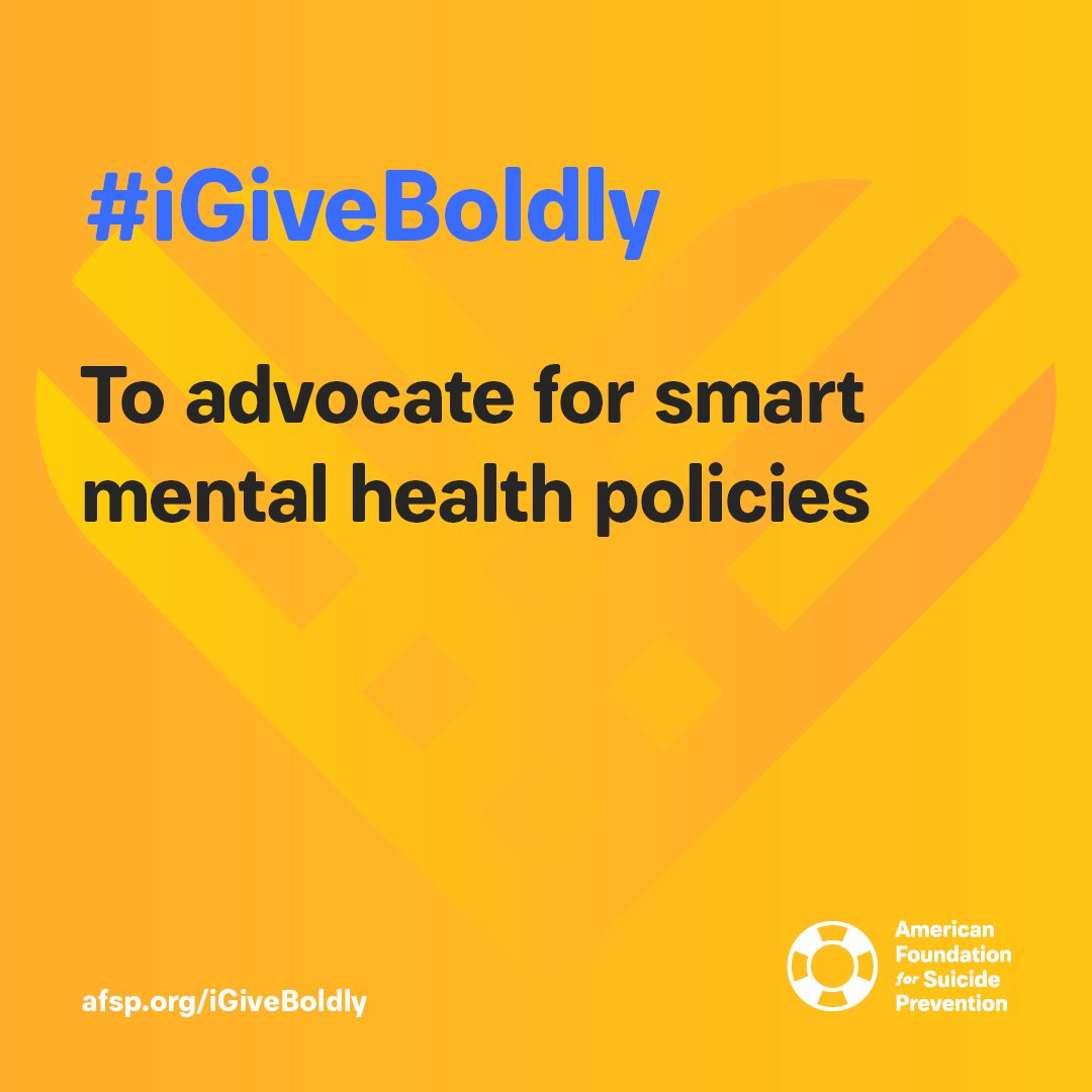 We have over 20,000 volunteers across the country who advocate for smart suicide prevention and mental health legislation. You can help us change policies on suicide and mental health by donating today for #GivingTuesday and declaring #iGiveBoldly: afsp.org/igiveboldly