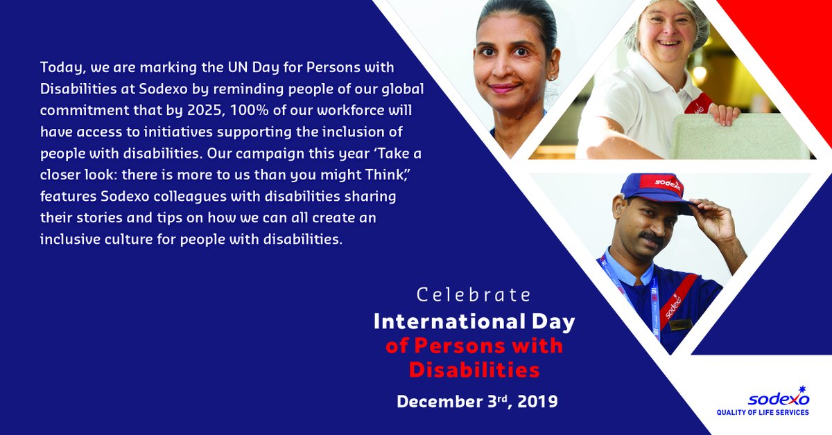 Let's celebrate #UnitedNations Day for Persons with Disabilities #IDPD2019 - Our campaign: 'Take a closer look: there is more to us than you might think' includes Sodexo colleagues sharing their stories for how we can all create an inclusive culture. http://ow.ly/PlWL1022sSf