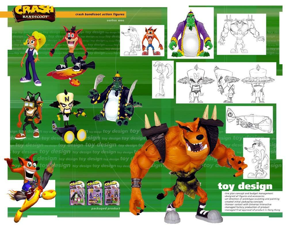 Crash Bandicoot ReSaurus action figures concept design sheets for series one and series two (1998-1999) <br>http://pic.twitter.com/rOcLUQSOTJ
