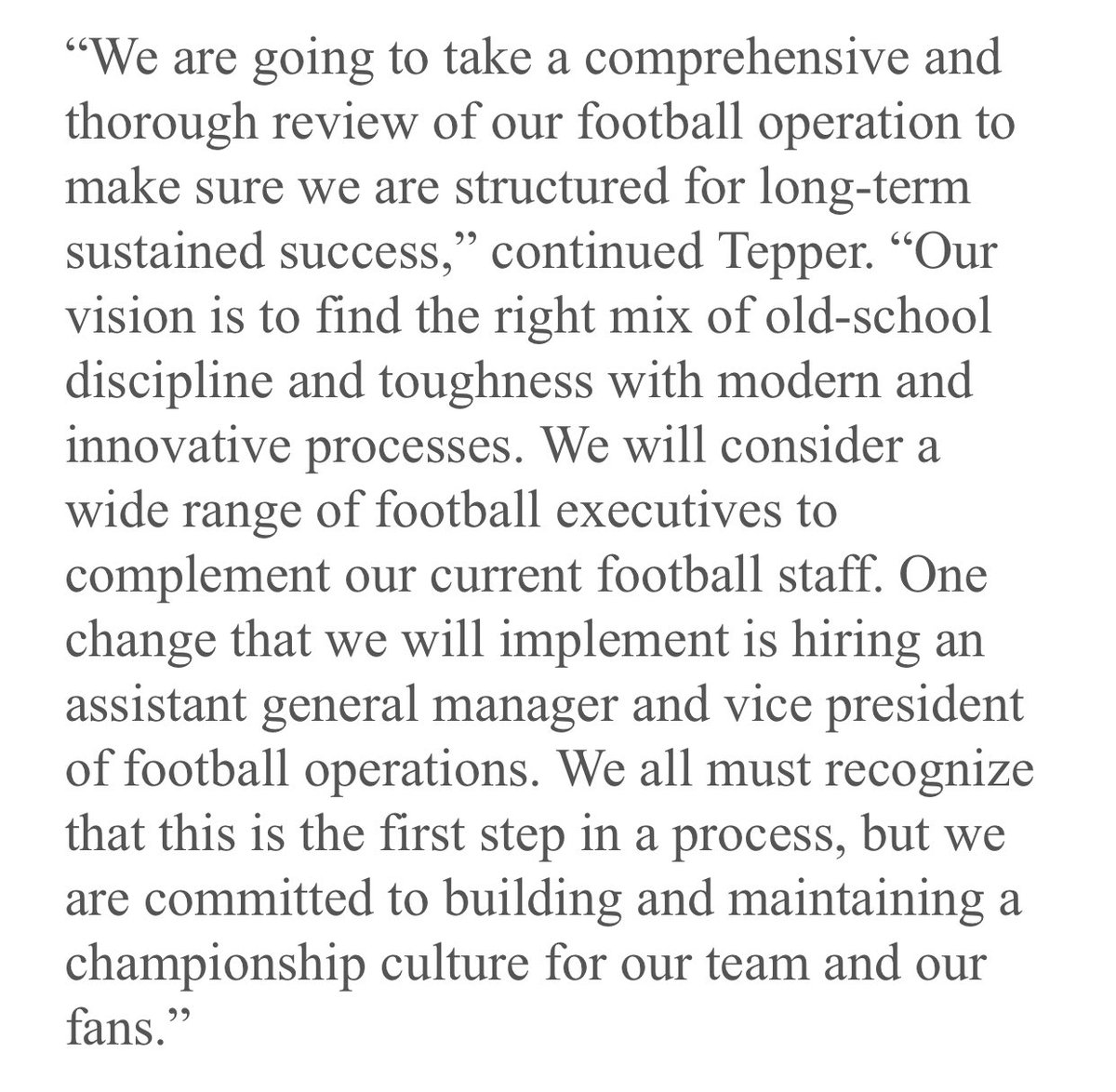 #Panthers owner David Tepper will do a thorough review of the football operations and add staff. At this point, nothing has changed for GM Marty Hurney.