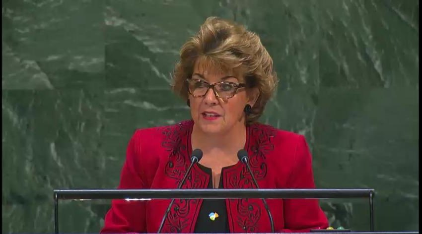 Amb. Byrne Nason at the #GA plenary session on the situation in Middle East, reiterates 🇮🇪's readiness to work with all parties towards resumption of meaningful negotiations and underlined the high priority that the Government & the Irish people continue to give to this issue.