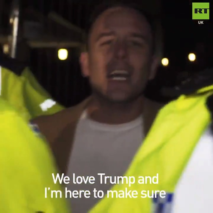 Danny Tommo placed in handcuffs as @realDonaldTrump supporters separated by anti-NATO protesters outside Buckingham Palace. #NATO #TrumpUKVisit