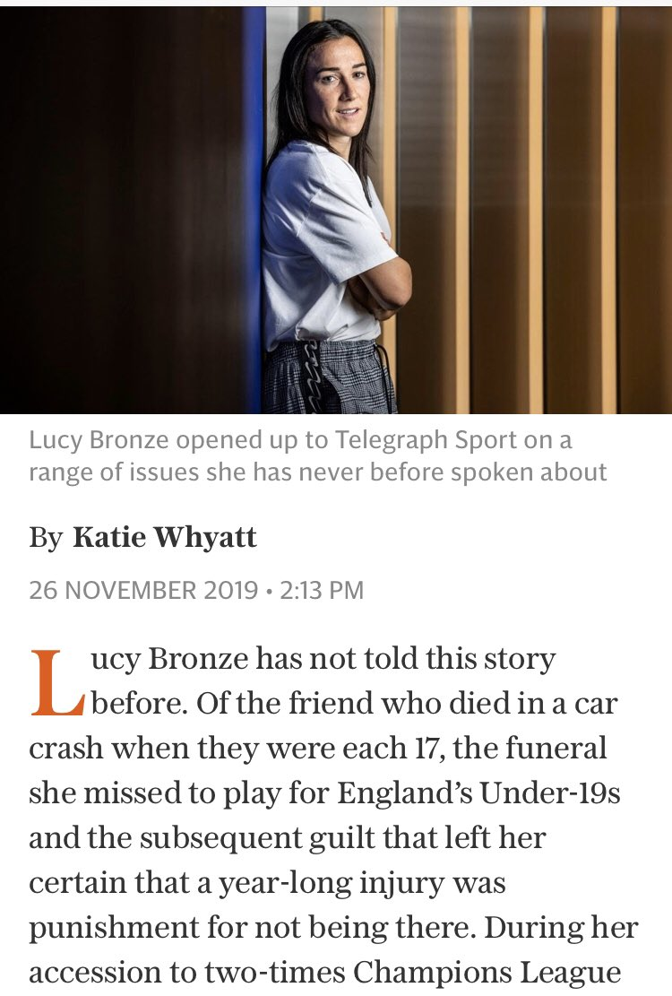 """""""You don't have to answer this if you don't want to, but who is this?"""" Brilliant behind the scenes from @KatieWhyatt interviewing @LucyBronze. Plus @dr_amalhassan on bone density, &me on Megan Rapinoe winning all the awards. The @WomensSport newsletter: telegraph.co.uk/ak-women-sport"""