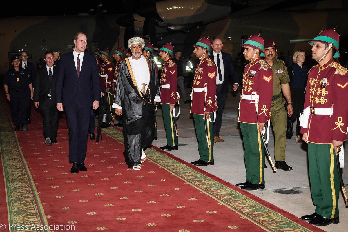 The Duke of Cambridge arrives in Oman, at the start of his first official visit to the country // دوق كامبردج يصل إلى سلطنة عمان في أول زيارة رسمية له للبلاد. #RoyalVisitOman