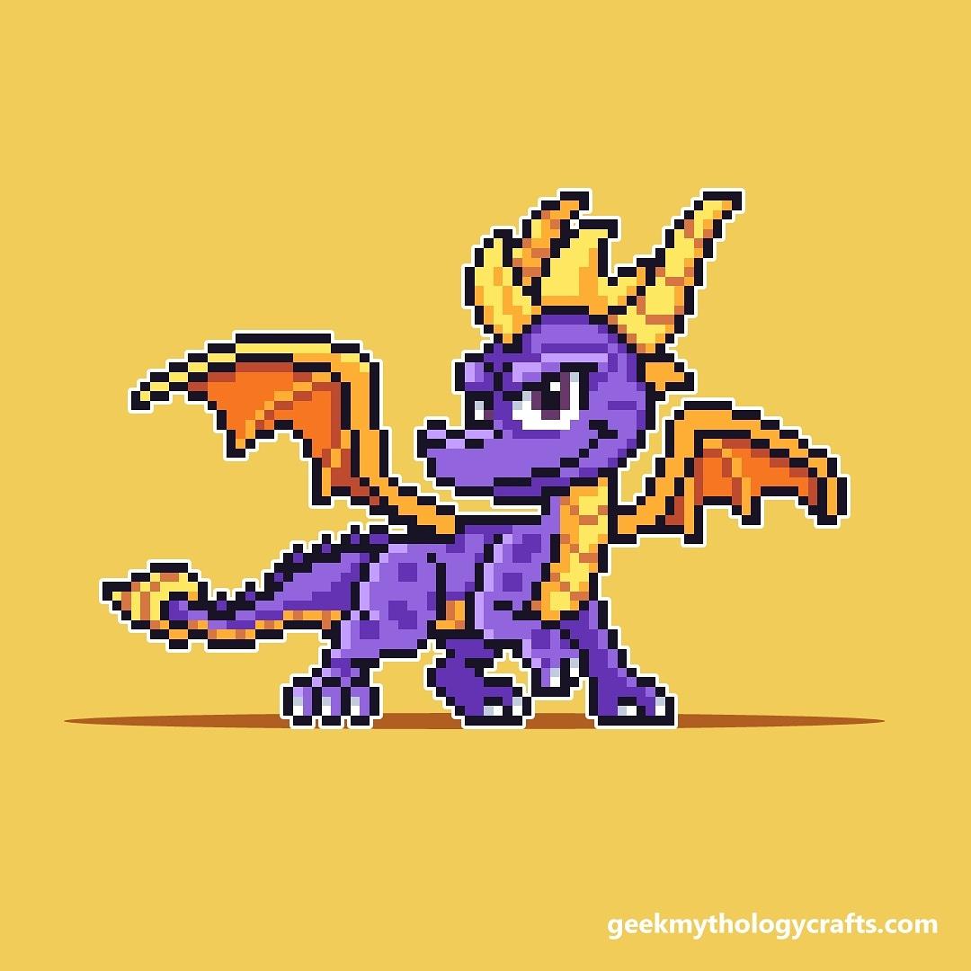 I drew #Spyro ! After doing Banjo-Kazooie and Crash Bandicoot I felt Spyro had to be done as well.  #pixelart #SpyroTheDragon <br>http://pic.twitter.com/baN4KNoL5P