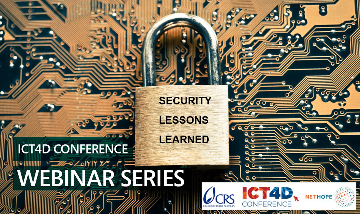 Gain valuable Security Lessons Learned and Good Practice in #DataProtection for iNGOs and development agencies at next Tuesdays WEBINAR. Register via bit.ly/34npFbR by @CRS_Expertise @ICT4DConference & @NetHope_org #ISE19