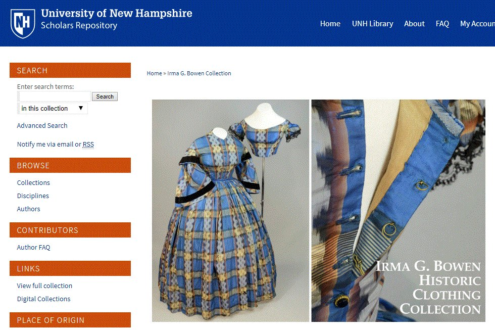 Home Economics like you've never seen it before @unhlibrary  The Irma G. Bowen Historic Clothing Collection features over 1100 objects, most of which were donated by local colleagues and families.  The mission to teach by increasing reach is achieved through the IR.