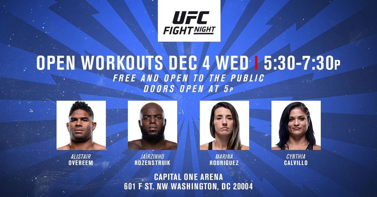 Get the ultimate @UFC Pre-Function Fan Experience and get hyped for Saturday's Fight Night! Witness workouts and media scrums with @AlistairOvereem, @JairRozenstruik, @wmmarz and @cyn_calvillo Then get tickets here ➡️ https://t.co/BHiaxBhOqX https://t.co/Y6alni5bFY