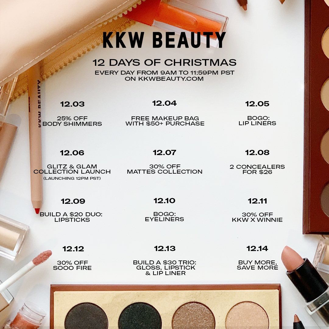 Our 12 Days of Christmas starts today! Shop each day at 9AM PST for a new sale only at http://KKWBEAUTY.COM 🎄#KKWBEAUTY