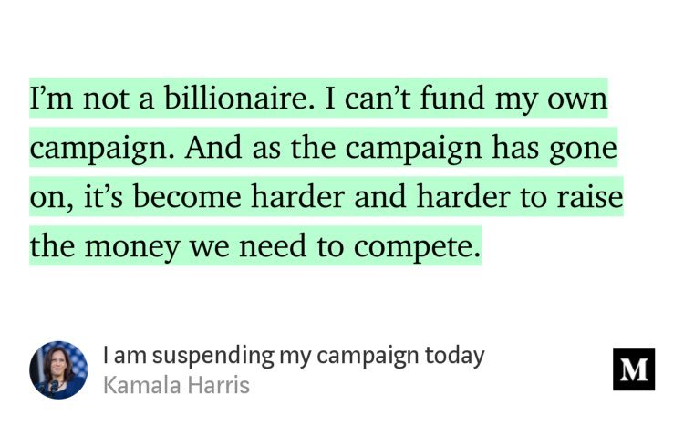 """I am suspending my campaign today"" by @KamalaHarris link.medium.com/MctUFbfL71"