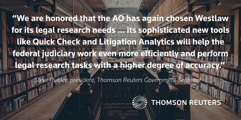 .@ThomsonReuters to provide the @uscourts with @Westlaw Edge and market-leading legal research tools to the Federal Judiciary, including #SCOTUS, all U.S. circuit, district and bankruptcy courts, and federal public defenders. tmsnrt.rs/2ralgL8