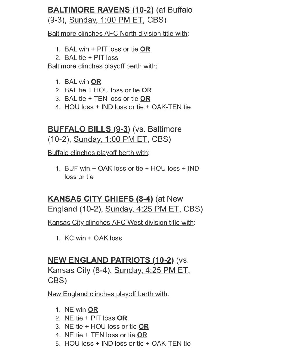 2019 NFL Playoff Scenarios for Week 14: