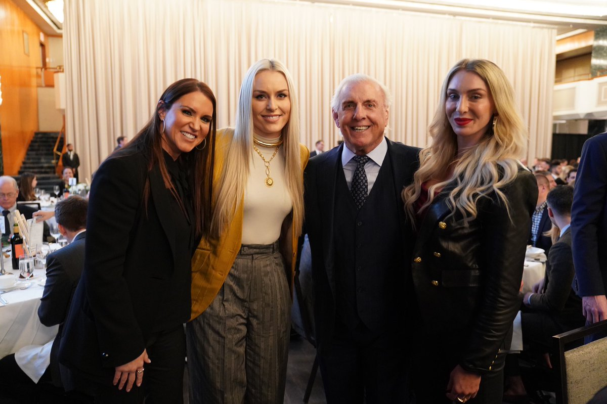 .@StephMcMahon, @RicFlairNatrBoy and @MsCharlotteWWE meet Olympic gold medalist and World Cup alpine skier @lindseyvonn at the @MarchOfDimesNY #SportsLuncheonNY. #GivingTuesday