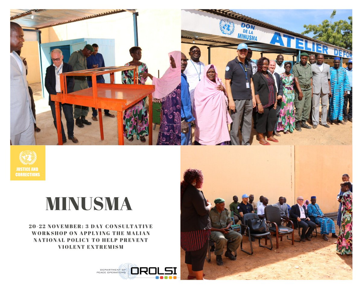 #MINUSMA continues to support Malian corrections and judicial actors to prevent violent extremism in prisons through a 3 day consultative workshop on the application of the Malian national policy for the prevention and fight against violent extremism. #OROLSI #Mali https://t.co/ppGImOKPdv